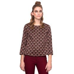 Top Marron Estampado Ml de Compañia Fantastica