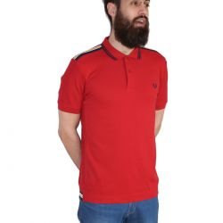 Polo Rojo Bandas En Hombros de Fred Perry Clothes