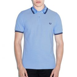 Polo Pique Azul Detalle En Cuello de Fred Perry Clothes