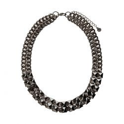 Collar Negro Cadena Ancha de Pieces
