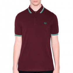 Polo Burdeos Vivos Blanco Verde Hombre de Fred Perry Clothes