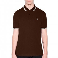 Polo Marron Vivos Blancos Para Hombre de Fred Perry Clothes