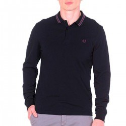 Polo Pique Negro Manga Larga de Fred Perry Clothes
